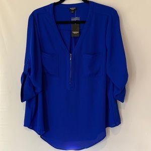 TORRID Electric Blue zip front Tunic sz 0
